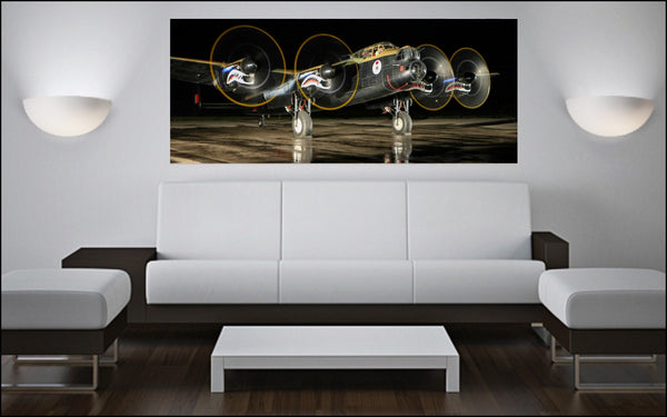 "Avro Lancaster Night Run-Up 72"" x 30"" Giant Image Wall Art"
