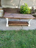 Wooden bench with lower shelf
