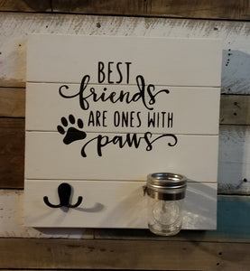 Dog leash and treat holder
