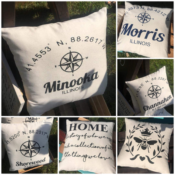 18x18 town pillows
