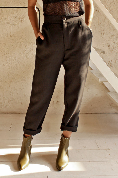 Button Trousers- Black linen