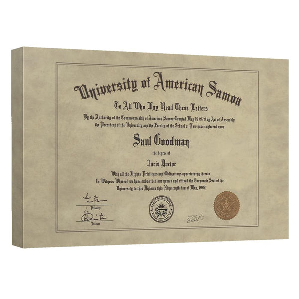 Better Call Saul Diploma Canvas Wall Art