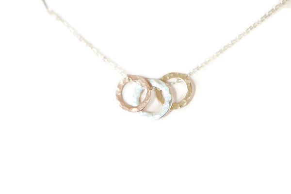 The Susie Three Ring Necklace (Mixed Metals)