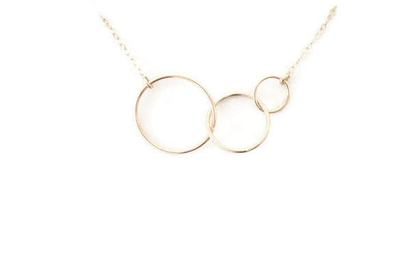 The Katie Three Linked Circles Necklace (Gold or Silver)