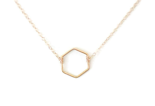 The Hailey Hexagon Necklace (Gold or Silver)