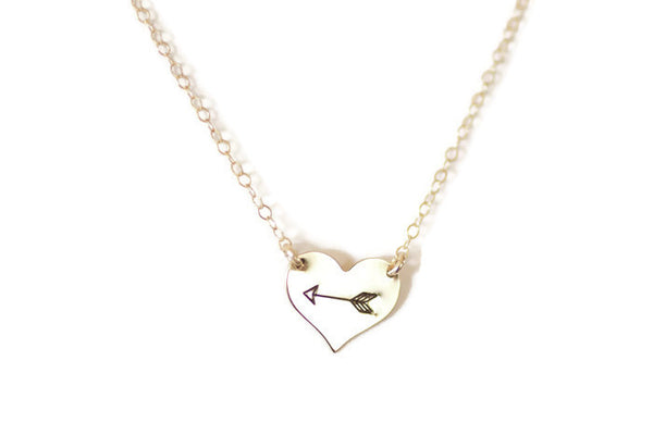 The Henley Heart and Arrow Necklace (Gold or Silver)