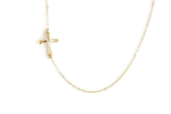 The Magdalene Sideways Cross Necklace (Gold or Silver)