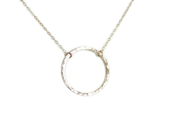 The Nora Large Hammered Circle Necklace (Gold or Silver)