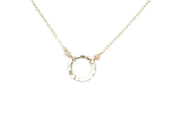 The Everly Circle with Pearls Necklace (Silver or Gold)