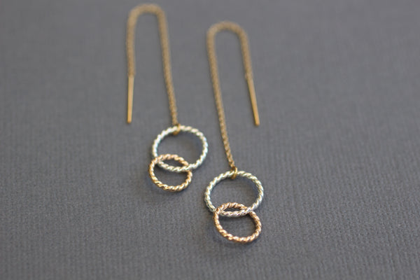 The Sophia- Mixed Metals Ear Threader Earrings