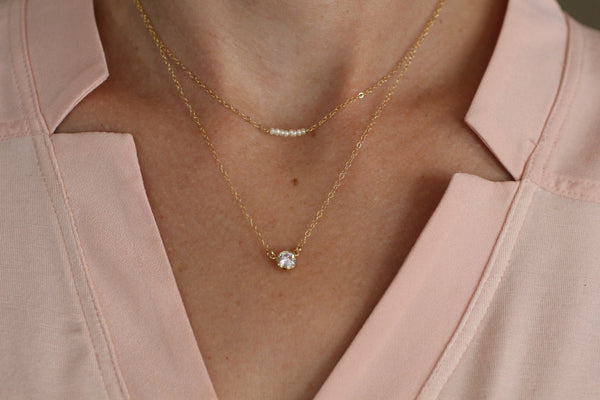 The Kara Pearl and Cubic Zirconia Layered Necklace Set