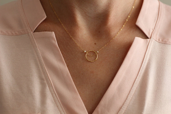 The Bethany Necklace-Circle with Pearls