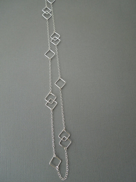 The Vivian Long Geometric Necklace (Sterling Silver)