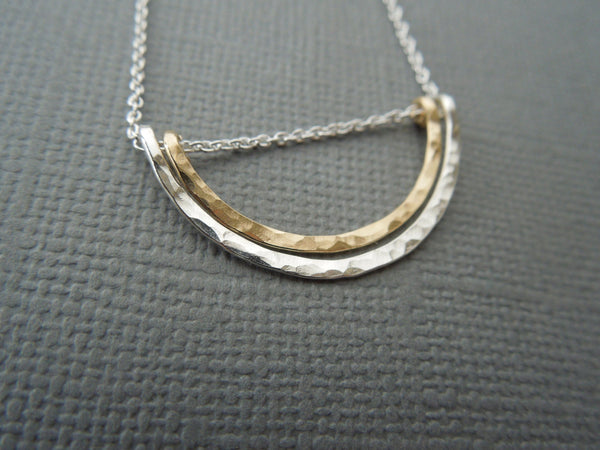 The Archer Double Arch Necklace (Mixed Metals)