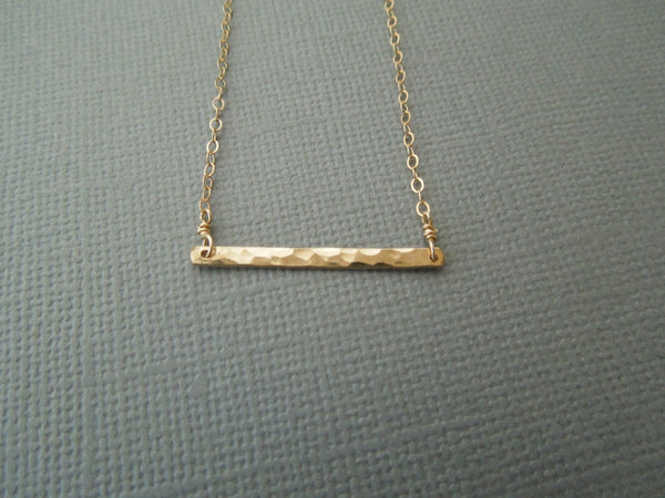 The Charlotte Hammered Bar Necklace (Silver or Gold)