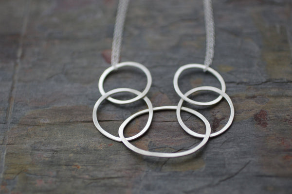 The Erika Organic Circles Necklace (Sterling Silver)