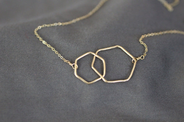 The Lisa Two Hexagons Necklace (Gold or Silver)