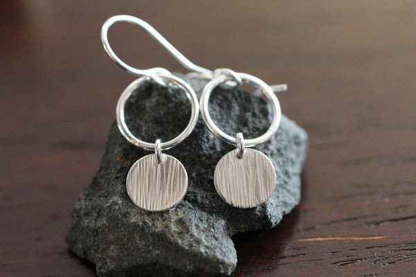 The Emily Circle and Disc Earrings (Silver or Gold)