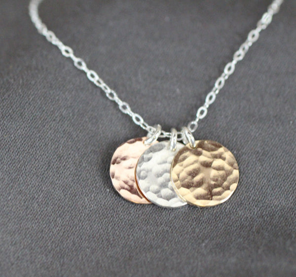 The Trey Three Hammered Disc Necklace (Mixed Metals)