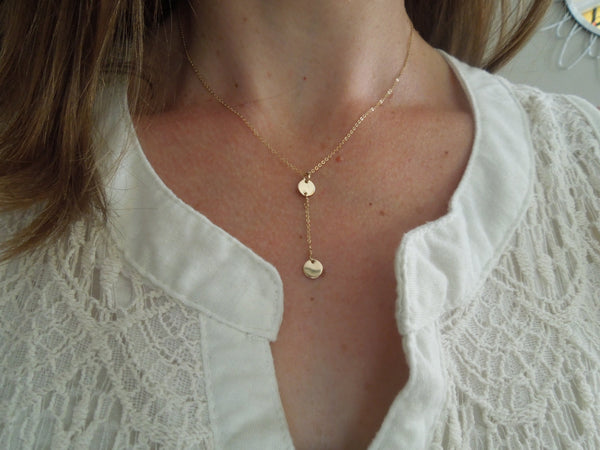 The Jenn Y Disc Lariat Necklace (Gold or Silver)