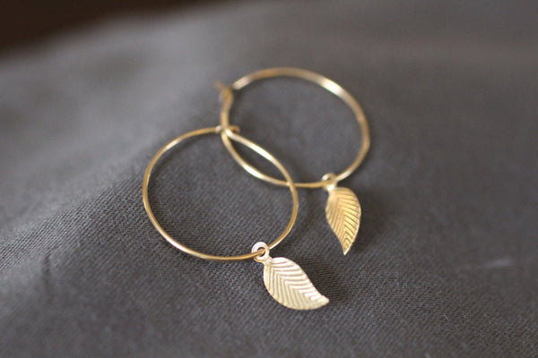 The Fern Leaf Hoop Earrings (14k Gold Filled)