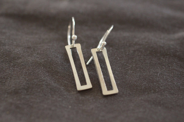 The Ray Small Rectangle Earrings (Sterling Silver)