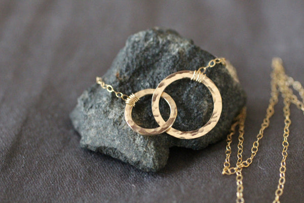 The Jessica Two Hammered Circles Necklace (Gold or Silver)