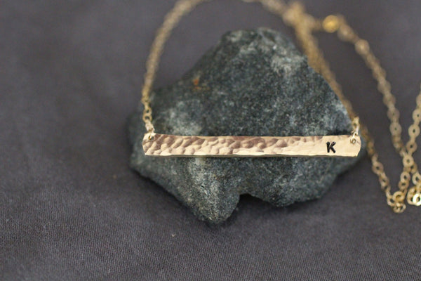 The Casey Personalized Initial Bar Necklace (Silver or Gold)