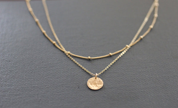 The Mia  Layered Disc Necklace (Gold or Silver)