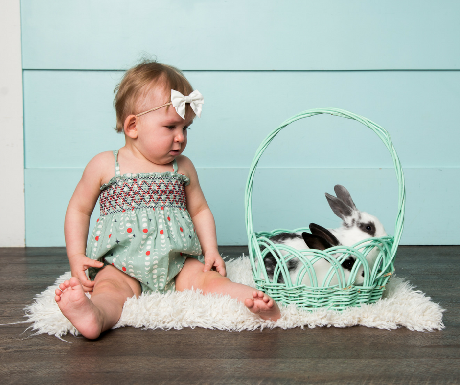 An Easter Themed Photo Shoot for Baby's First Easter (With Real Bunnies!)