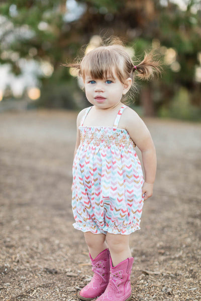 Baby Smocked Bubble Romper with Cowgirl Boots // Duchess and Goose