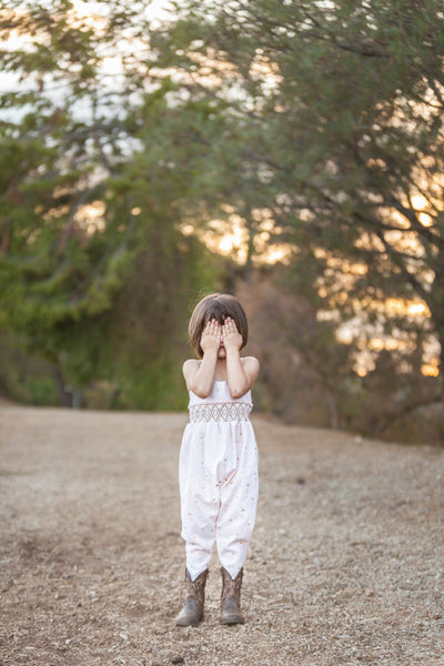 Girls Smocked Harem Romper with Cowgirl Boots // Duchess and Goose