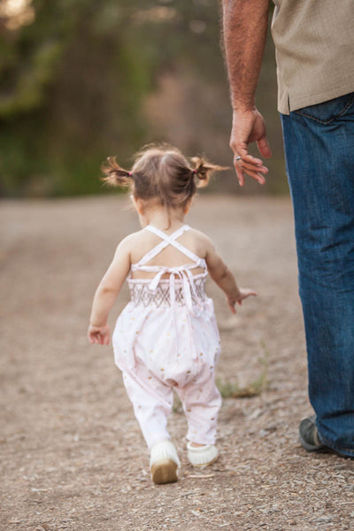 Baby Smocked Harem Romper with Moccasins // Duchess and Goose