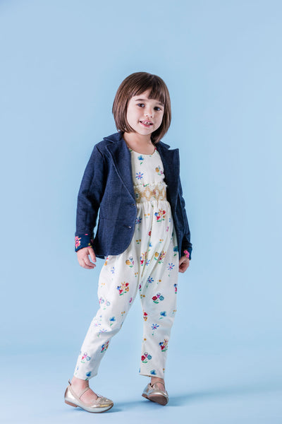 Organic Girls Smocked Harem Romper with Blazer and Flats // Duchess and Goose