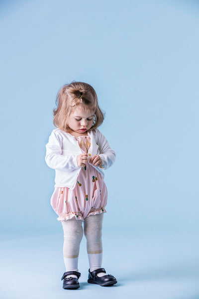Baby Smocked Bubble Romper with Tights and Cardigan // Duchess and Goose