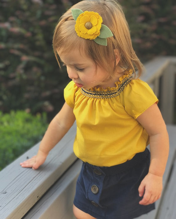 Toddler Girls Mustard Smock Top handmade by duchess and goose