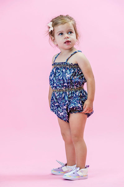 Unicorn Forest Navy Smock Bubble Romper Duchess and Goose