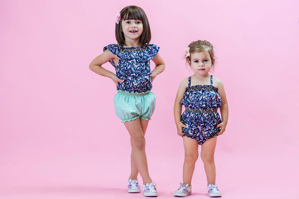 Unicorn Forest Navy Smock Top Navy Bubble Romper Duchess and Goose