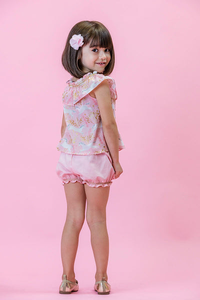 Unicorn Forest Pink Smock Top Bubble Shorts Duchess and Goose