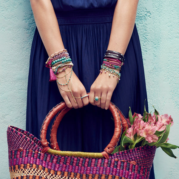 chloe + isabel by Rachel Nevarez layered bracelet look magentas