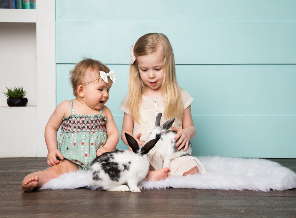 Toddler girl and baby girl playing with real bunnies for easter photo shoot