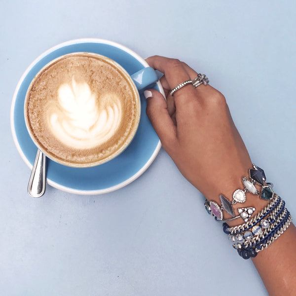 chloe + isabel by Rachel Nevarez layered bracelet look blue tones