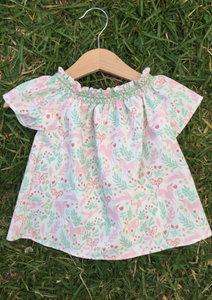 Short Sleeve Smock Top - Unicorns