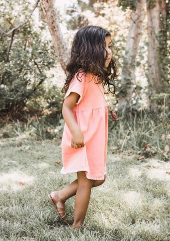 Handmade Dotty Dress in Melon | Duchess and Goose