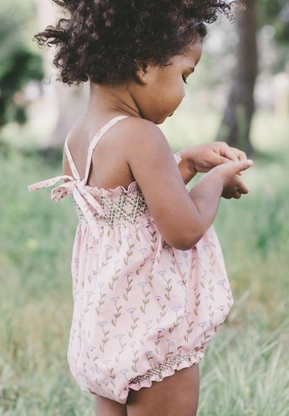 Baby Smocked Bubble Romper - Blush Florette