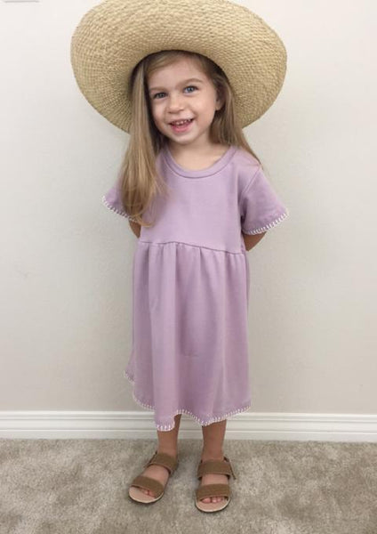 Handmade Dotty Dress in Lavender | Duchess and Goose