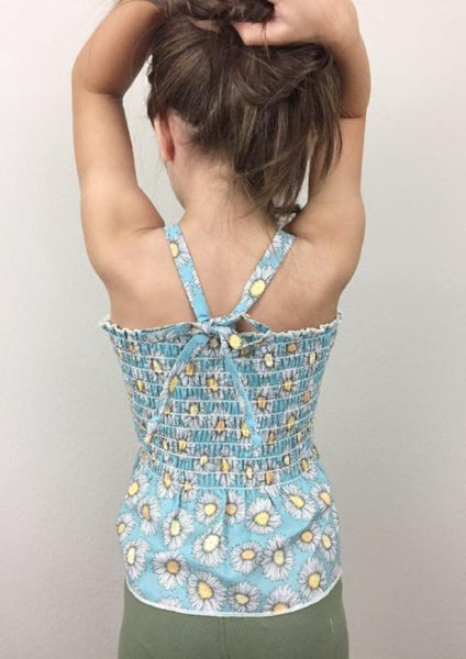 Handmade Smocked Tube Top in Blue Daisy | Duchess and Goose
