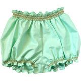 Mint Smocked Girls Bubble Short Duchess and Goose