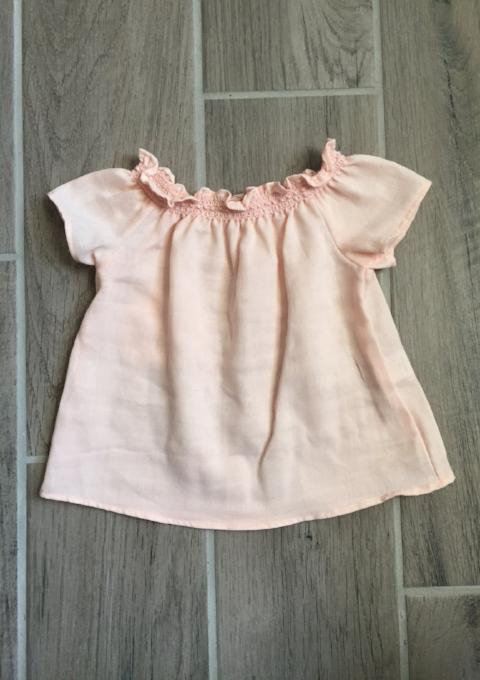 Short Sleeve Smock Top - Blush