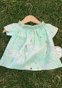 Short Sleeve Smocked Top in Mermaids | Duchess and Goose